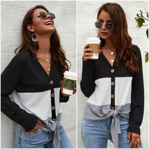 Black Waffle knit color block tie front sweater
